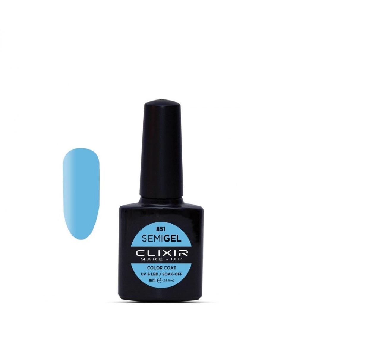 Elixir Make-up Semigel Ημιμόνιμο Βερνίκι No851 Bondi Blue 8ml